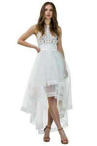White Flora High Low Dress
