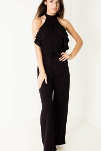 Black Belted Ruffle Jumpsuit