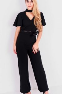 Black Short Cape Sleeve Jumpsuit