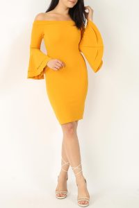 Mustard Two Tiers Bell Sleeve Dress