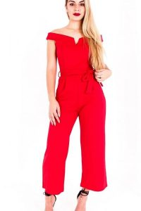 Red Bardot Capri Jumpsuit