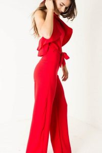 Red Belted Ruffle Jumpsuit
