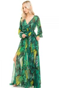 Palm Print Green Maxi Dress