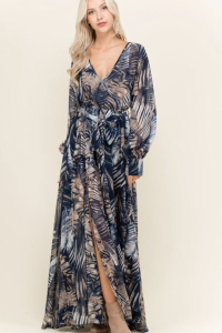 Palm Print Navy Maxi Dress