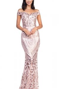 Avery Champagne Rose Sequin Dress