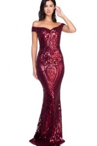 Avery Wine Red Sequin Dress