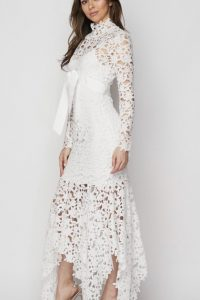 Avery Laser Cut White Dress